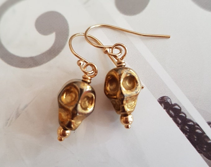 Gold skull earrings 18K Gold Fill small Gold gemstone skull drop earrings Gold Hematite skull Halloween jewelry Goth jewellery gift for her