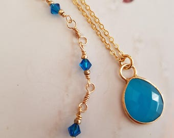 18K Gold Fill blue Chalcedony necklace choke with blue  Swarovski crystals; gift for mum gift boxed
