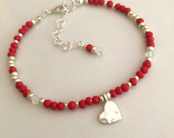 Tiny Red crystal bead bracelet Sterling Silver hammered heart  3mm red beaded bracelet skinny bracelet boho red jewellery gift for her