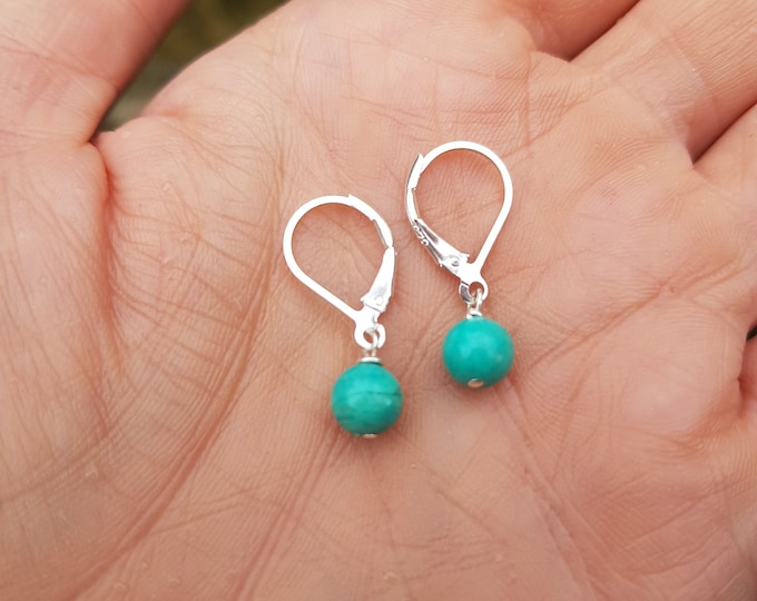 Tiny Turquoise earrings Sterling Silver / 18K Gold Fill small blue green Turquoise gemstone drop earrings December Birthstone jewellery gift