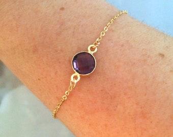 18K Gold Fill Amethyst bracelet tiny purple gemstone bracelet - stacking layering - February Birthstone jewellery - 7th Chakra Jewelry gift