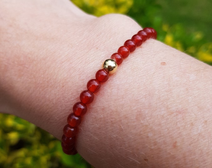 Carnelian STRETCH Bracelet Sterling Silver tiny 4mm orange gemstone Bead Bracelet Carnelian beaded Jewellery July Birthstone Sacral Chakra