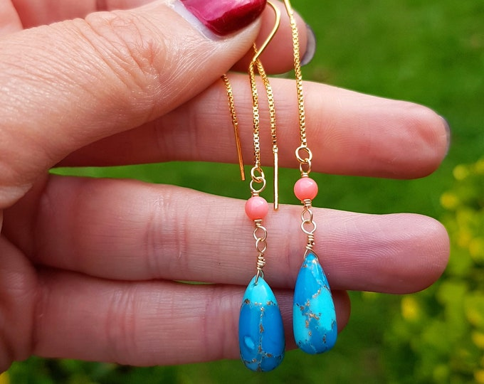 Gold Fill Turquoise threader earrings with pink coral or Sterling Silver gemstone teardrop earrings honeymoon beach Turquoise jewellery Gift