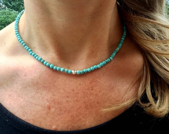 Turquoise choker necklace Sterling Silver - December Birthstone jewellery - chakra yoga gift