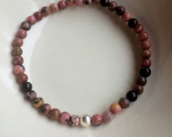 Pink Rhodonite stretch Bracelet with Sterling Silver or Gold Fill accent bead - Boho - Yoga - Chakra jewelry gift