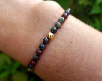 Bloodstone stretch Bracelet Sterling Silver tiny 4mm gemstone bead Bracelet small red & green Beaded bracelet Chakra jewelry jewellery gift