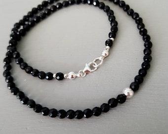 TINY Black Onyx necklace choker Sterling Silver / Gold Fill black gemstone necklace  February birthstone jewellery yoga Chakra jewelry gift