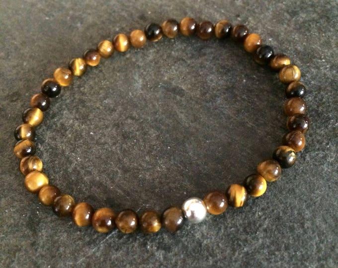 TIGER'S EYE bead Bracelet Sterling Silver stretch bracelet Chakra jewelry jewellery Gift