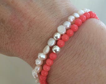Pink Coral stretch Bracelet Sterling Silver beaded Coral gemstone Bracelet simple 4mm tiny bead bracelet salmon pink Coral jewellery gift