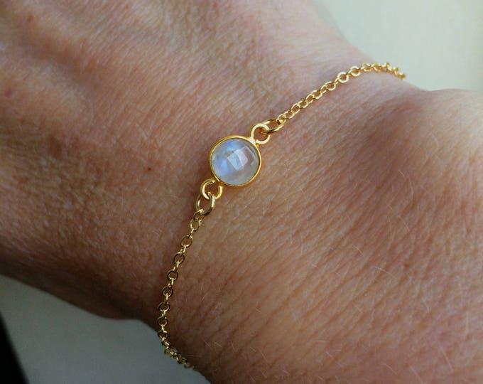 18K Gold fill tiny Moonstone bracelet Gold bracelet stacking - June Birthstone jewellery - minimalist Jewelry gift