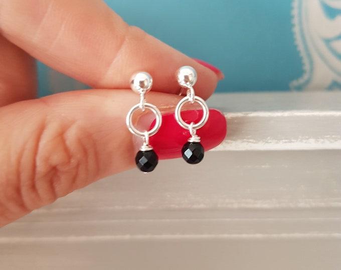 Tiny Black Onyx earrings Sterling Silver / Gold studs small Black gemstone drop earrings January Birthstone jewellery jewelry gift for girl