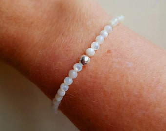White Mother of Pearl Bracelet Sterling Silver or Gold Fill tiny 4mm gemstone bead stretch Bracelet small Beaded Bracelet MOP jewellery gift