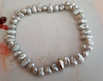 Grey Baroque Freshwater Pearl stretch bracelet Sterling Silver nugget bead