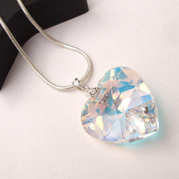 Heart Hair Grips AB Crystal Diamante Heart Silver Colour 2 Piece Set