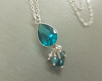 Sterling Silver blue Topaz Quartz necklace Pendant necklace with Swarovski Crystals and Freshwater seed pearls December birthstone Jewelry