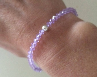 Lilac Swarovski crystal stretch bracelet with Sterling Silver or Gold Fill bead