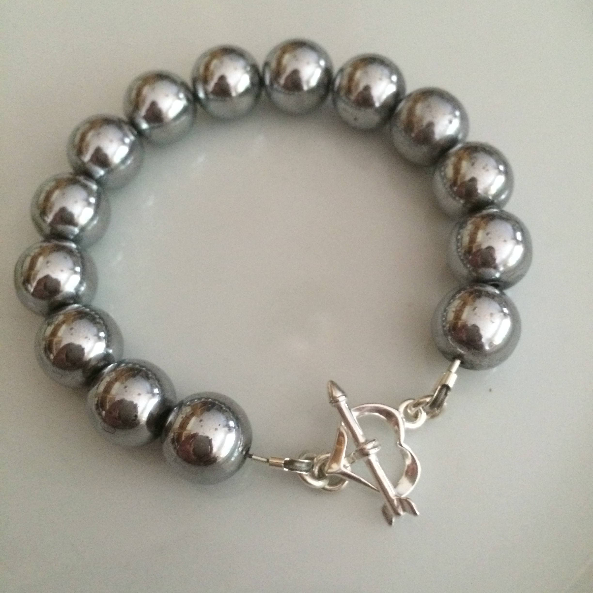 fd24a22417e79a Chunky Silver Hematite gemstone bead bracelet with Sterling Silver heart  toggle clasp