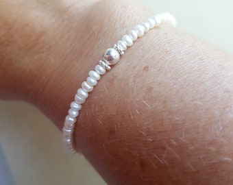 White Freshwater seed Pearl STRETCH Bracelet Sterling Silver small pearl Bracelet simple skinny bracelet real small pearl jewellery gift