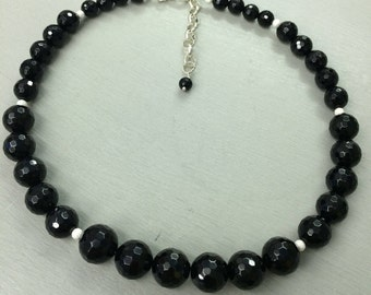 Black Onyx beaded necklace choker -  Sterling Silver - February Birthstone jewellery gift