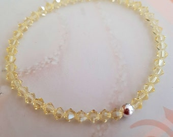 Yellow Swarovski crystal stretch bracelet Sterling Silver or Gold Fill bead Jonquil Yellow crystal bracelet 4mm tiny beaded bracelet jewelry