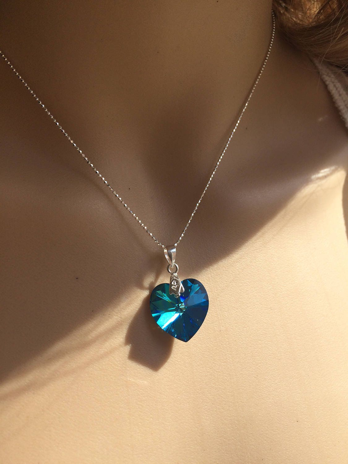 Blue swarovski crystal heart necklace sterling silver swarovski heart pendant necklace peacock blue mothers day gift swarovski jewelry gallery photo gallery photo aloadofball Images