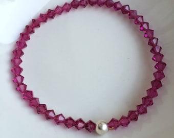 Pink Swarovski crystal stretch bracelet Sterling Silver or Gold tiny fushia pink bead bracelet Swarovski jewellery gift for girl teenager