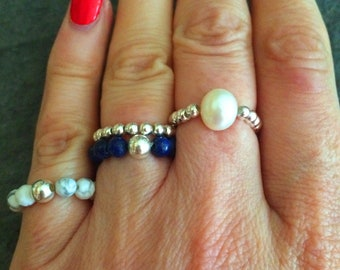 BLUE LAPIS LAZULI ring Sterling Silver stretch ring gemstone bead ring beaded stacking September Birthstone jewelry chakra jewellery gift