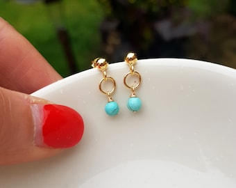 14k Gold Fill Tiny Turquoise earrings stud small Turquoise drop earrings blue gemstone jewelry December Birthstone jewellery gift for girl