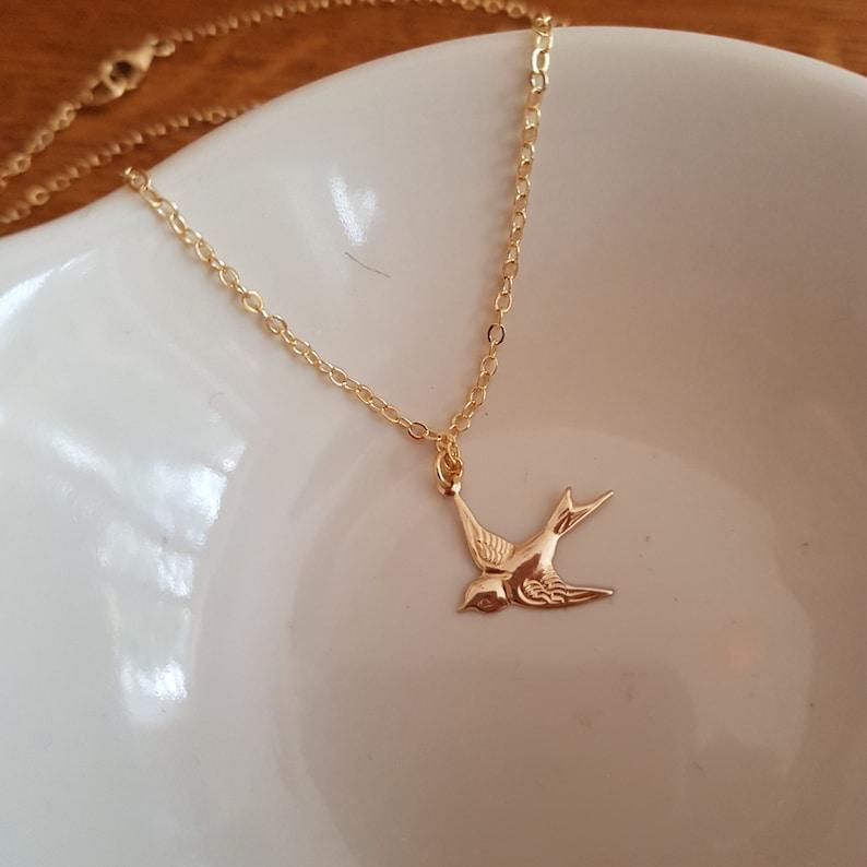 small swallow Gold bird pendant simple Gold bird choker dainty gold pendant necklace jewelry gift Tiny 18K Gold Fill bird necklace choker