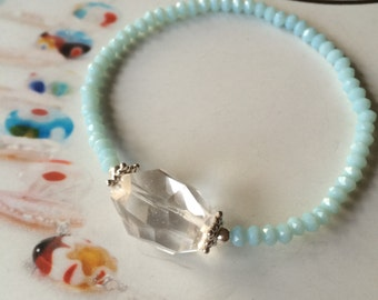 Clear Rock Crystal Quartz stretch bracelet with tiny aqua beads -Sterling Silver -Crown Charkra gift