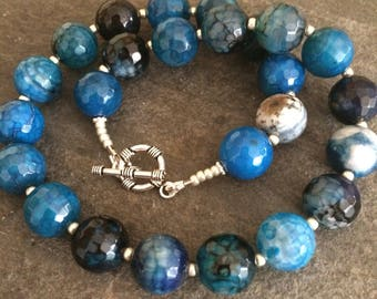 Chunky blue Agate beaded gemstone necklace Sterling Silver semi-precious Jewellery gift