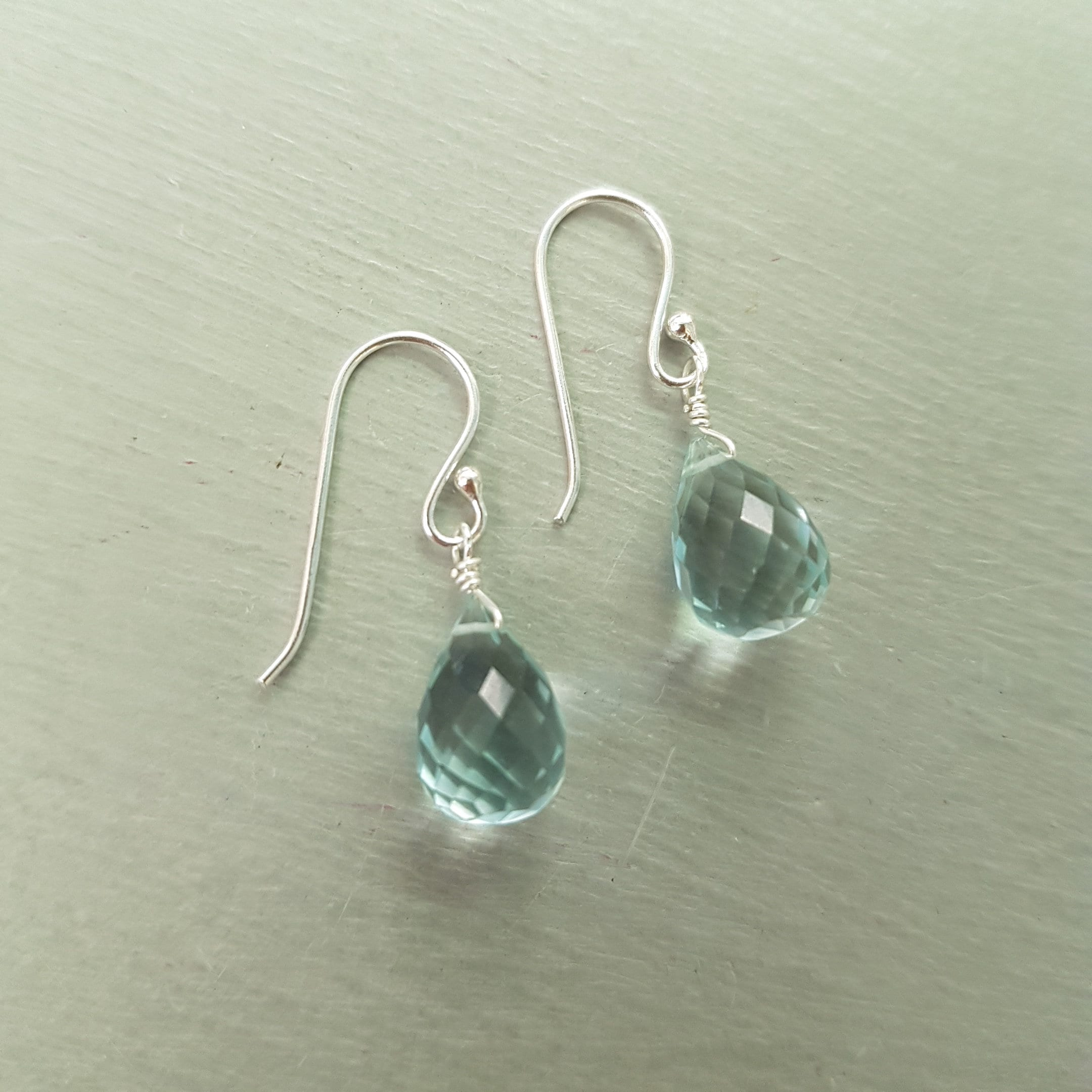 ff4c8f37d Aquamarine earrings Sterling Silver hooks wire wrapped small teardrop  gemstone earrings blue earrings March Birthstone jewelry gift