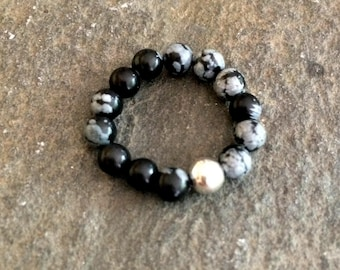 SNOWFLAKE OBSIDIAN Sterling Silver Stretch RING - root chakra jewellery gift