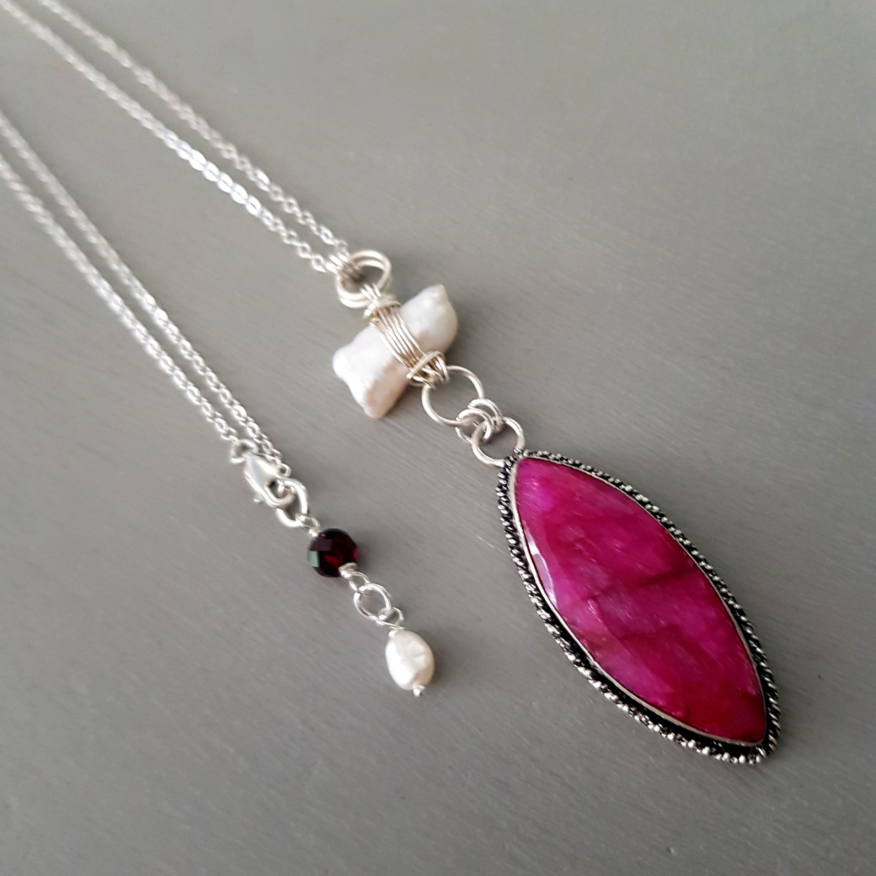 Sterling Silver Wire Wrapped Pendant gemstone Pendant Ruby Necklace Handcrafted Ruby Jewelry July birthstone Natural Ruby Pendant