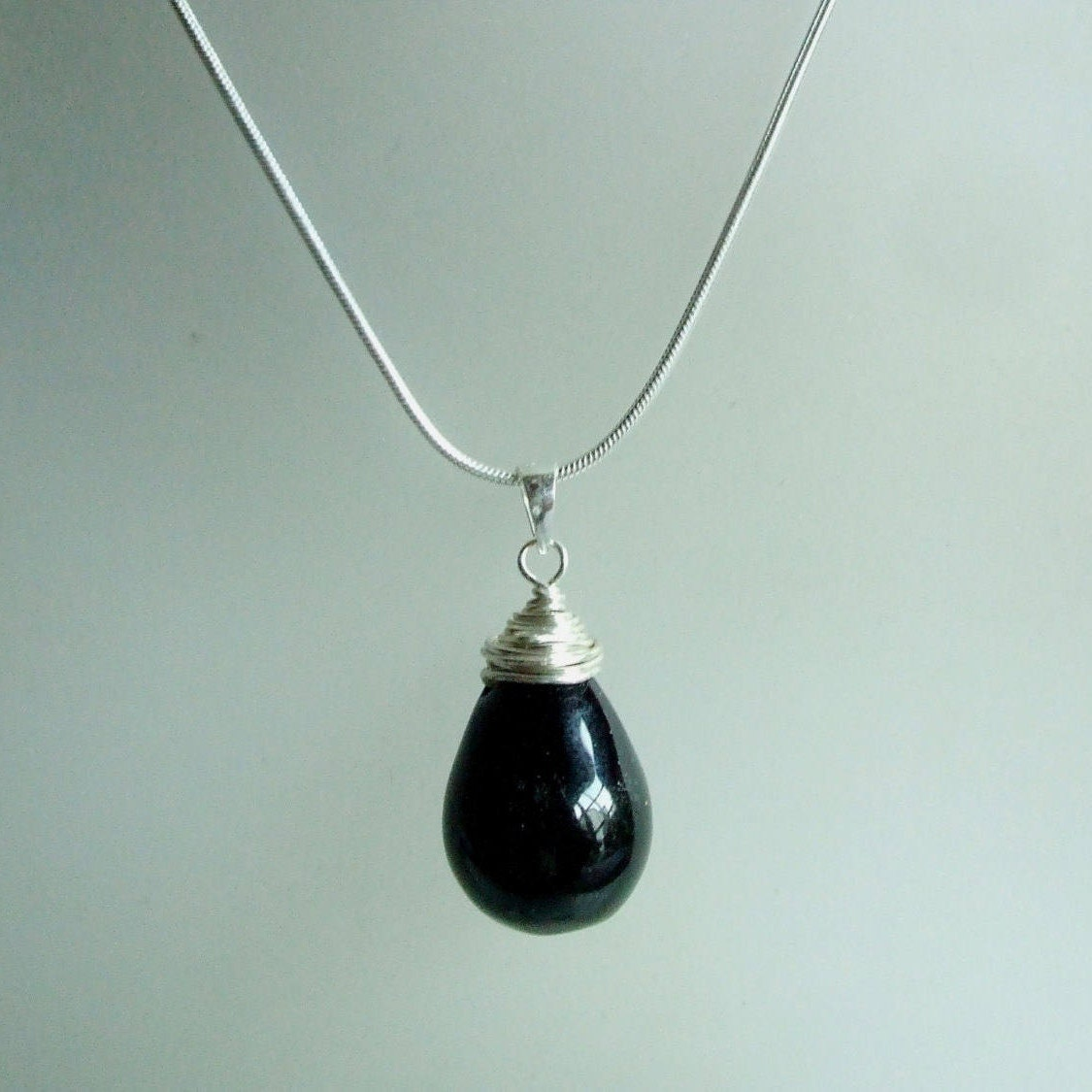 Black Onyx pendant necklace, Sterling Silver wire wrapped Black Onyx ...