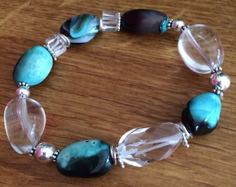 Chunky gemstone stretch bracelet with clear Rock Crystal Quartz  and green Agate - Sterling Silver
