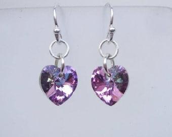 Purple Vitrail Swarovski crystal heart earrings - Sterling Silver
