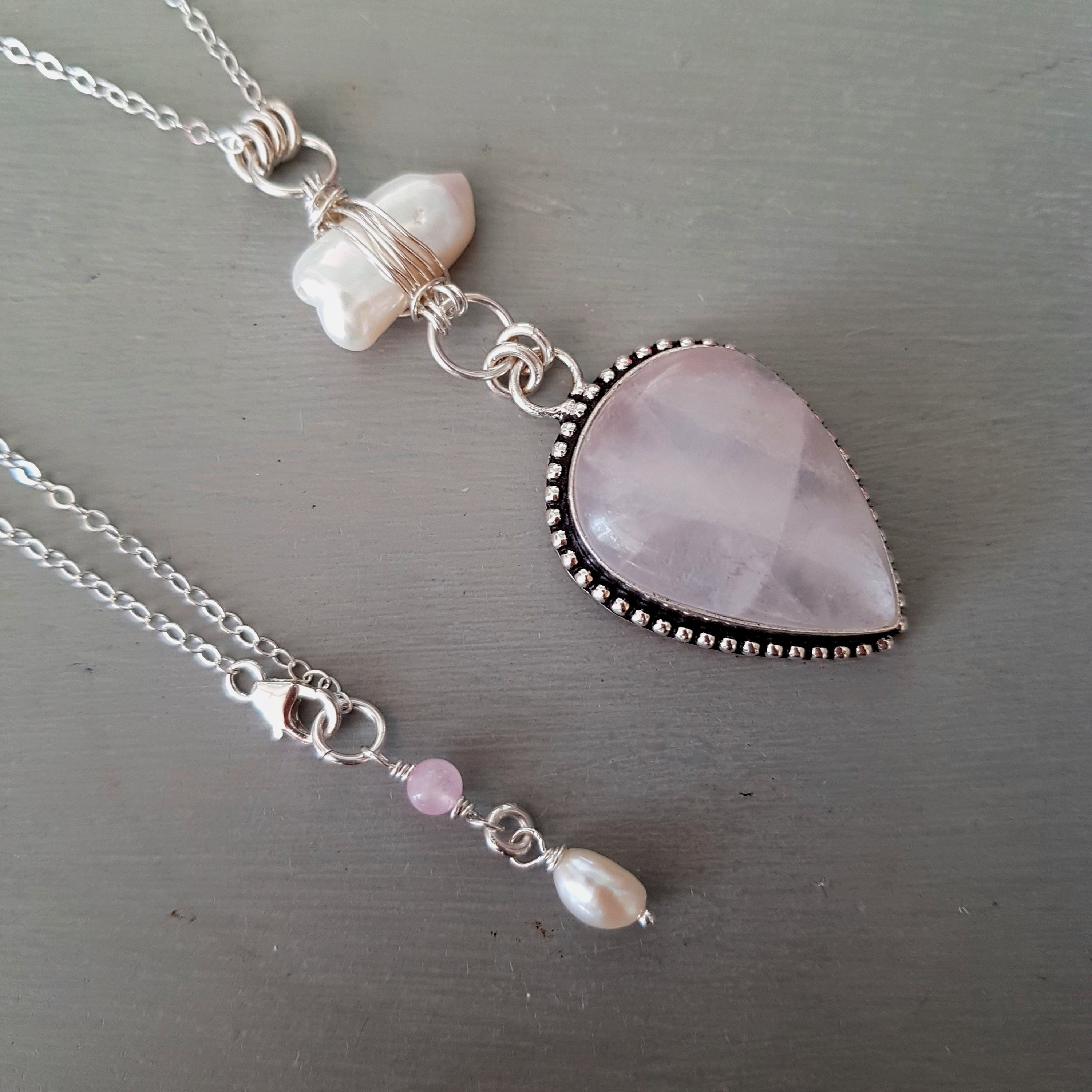 Long Sterling Silver Rose Quartz pendant necklace with wire wrapped ...