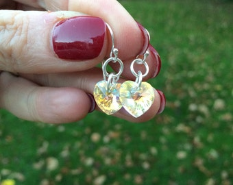 Tiny AB or clear crystal heart earrings handmade with Swarovski Crystal elements on Sterling Silver hooks studs or leverbacks gift for girl