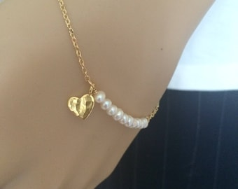 Tiny Freshwater Pearl bracelet hammered heart in Gold Fill or Sterling Silver small white real seed pearl jewelry June Birthstone jewellery