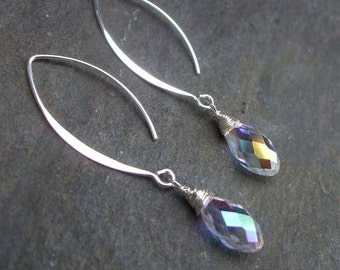 AB Swarovski crystal wire wrapped earrings on long Sterling Silver hooks - also in black or clear