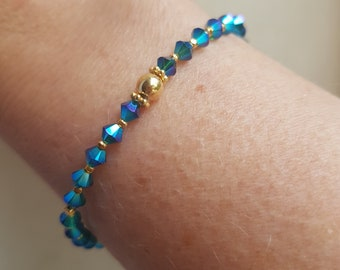 Peacock Blue Swarovski crystal stretch bracelet Gold Fill tiny blue green AB beaded bracelet Swarovski Crystal jewellery gift