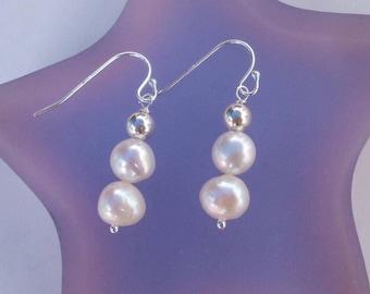 Freshwater Baroque pearl earrings Sterling Silver or Gold Fill white pearl drop earrings double pearl earrings real pearl jewellery gift