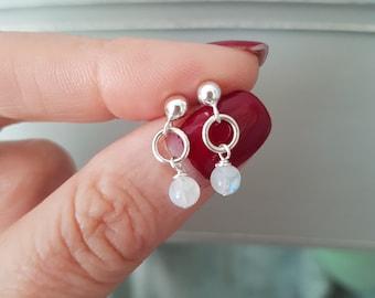 Tiny MOONSTONE earrings Sterling Silver stud - June Birthstone jewellery - Yoga -healing  Chakra jewelry gift for girl