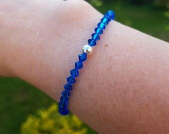 Blue Swarovski crystal stretch bracelet Sterling Silver or Gold fill tiny 4mm cobalt blue bead bracelet small beaded jewellery jewelry gift