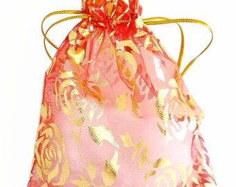 Organza Bags - 15 Red Drawstring Bags with Flowers - 12x10cm Bags for Jewelry - Party Favor Bags - Decorative Bags - Jewelry Bags - BG414