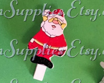 6 Santa Clothespins - Note Clips - Memo Clips - 6 Wooden Clips - Painted Clothespins