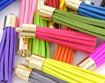 50mm Tassels with Gold Caps, Color Mix, 10 or 24 Pieces
