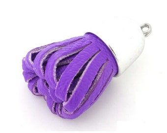 6 Purple Tassels with Silver Caps