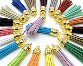 58 mm Long Tassels with Gold Caps, 10 or 24 Pieces, Color Mix